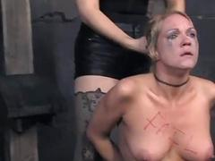 Facial torture for pretty babe