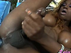 Black shemale with largest tits penetrates her ass with largest phallus exchanger