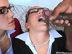 Valentina and Mischa get cum all over their pretty faces