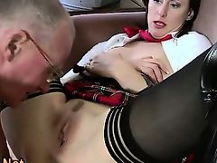 Stockings brit milf spitroasted