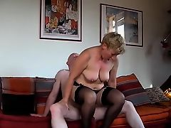Busty blonde housewife in stockings fucks a intense rod every