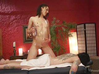 sweet babe jerks off a transsexual with her feet