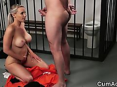 Kinky beauty gets cumshot on her face swallowing all the sem