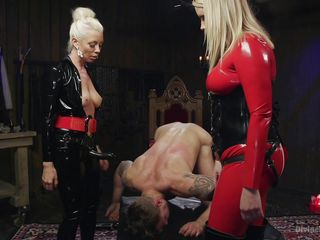 two busty milfs dominating a white man