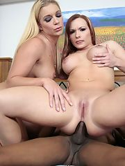 Two horny white babes share a plumbers hard black cock