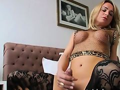Sexy blonde lady-boy Camille Andrade shows off body and cums