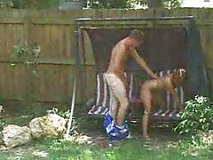 Spying on sister and guy fucking in backyard